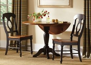 dinette set, black drop leaf, drop leaf table, small dinette, dining room furniture