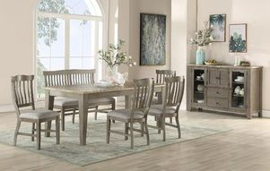 dining room, kitchen set, wood, gray set, chairs, table, server